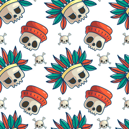 Skull seamless pattern. Halloween wallpaper. Doodle colorful cartoon background. Day of the Dead wrapping paper. Retro temporary tattoo symbols. Vectores