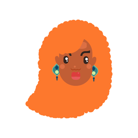 black skin woman head with curly red hair icon flat style with tribal earrings. Avatar for social media vector illustration