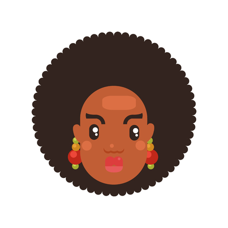 black skin woman head icon flat style with tribal earrings. Avatar for social media vector illustration Ilustracja