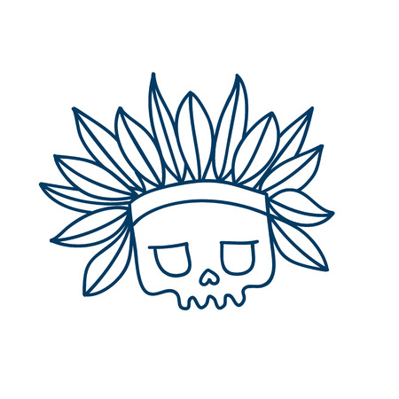 Skull line icon with indian headdress with feathers. Temporary tatoo design. Halloween character.