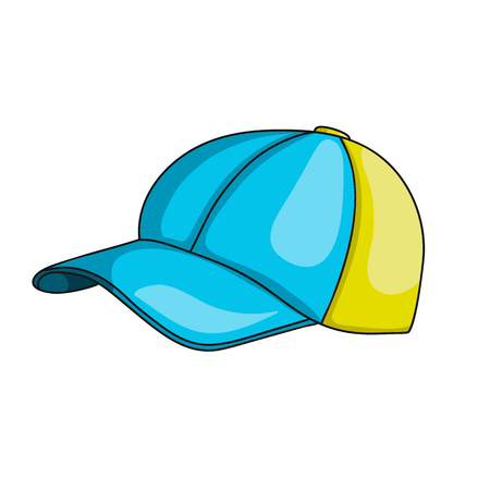 Kids baseball cap icon. Sport clothes. Cartoon vector illustration with stroke isolated on white