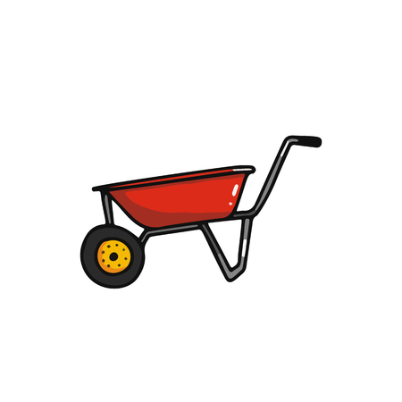Wheelbarrow cartoon icon. Harvesting equipment vector illustration isolated on white