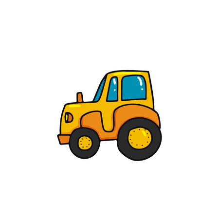 cartoon tractor icon with outline. Agriculture transport. Harvesting equipment. Farm machine.