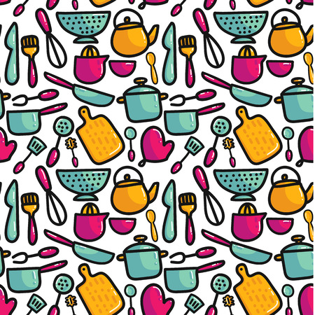 Doodle cartoon kitchen elements seamless pattern. Cooking utencils hand drawn icons. Colorful vector illustration for posters and home decoration
