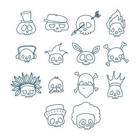Skull line icon with different headdress and accessories. Temporary tatoo design. Halloween character set
