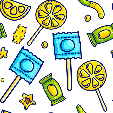 Colorful cartoon doodle with outlines sweet candies seampless pattern background for wrapping paper and packaging. Yellow colors