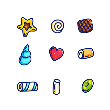 Cute little colorful candy set. Cartoon doodle icons vector illustration.  With star, heart and marshmallow