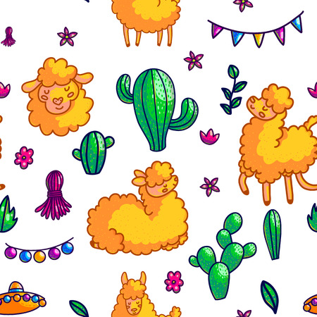 Llamas characters hand drawn vector seamless pattern. Lama, cactuses, mexican hat and festive decorations cartoon texture. Cute lama, alpaca doodle cliparts. Mexico culture color background fill