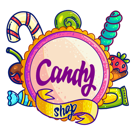Candy shop hand drawn vector logo design. Hand written lettering for sweet bar, candy store sign board. Colorful cafe handdrawn label, sticker, clipart. Sweet treats cartoon isolated logotype template