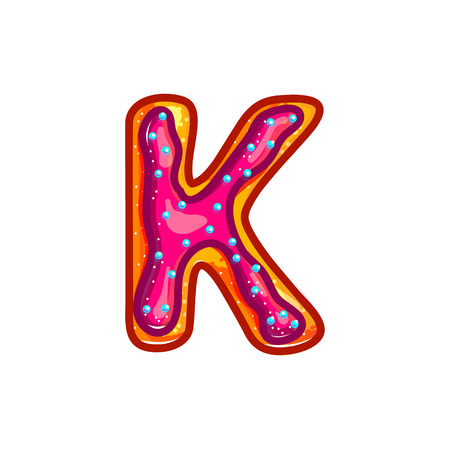 Letter K. Biscuit with glaze and confetti. Sweet donuts bakery font. Christmas cookies. Vector cartoon alphabet isolated on white background.  Hand drawn colored illustration.