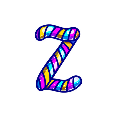 Carnival candy cane font isolated on white background. Festive alphabet character z.  Cartoon lollipop lettering vector illustrataion. Sweet lolly alphabet.  Caramel christmas abc symbols. 矢量图像