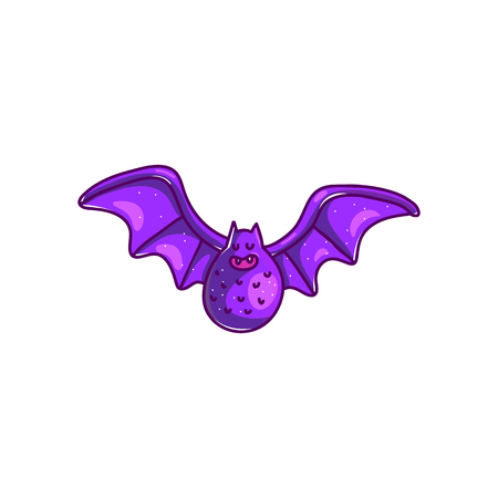 Vector cartoon bat with opened wings in purple color isolated on white background Standard-Bild - 113563671