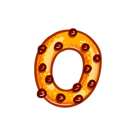 Cookie font with chocolate chips isolated on white background.  Christmas alphabet. Vector cartoon character. Sweet biscuit zero number symbol.