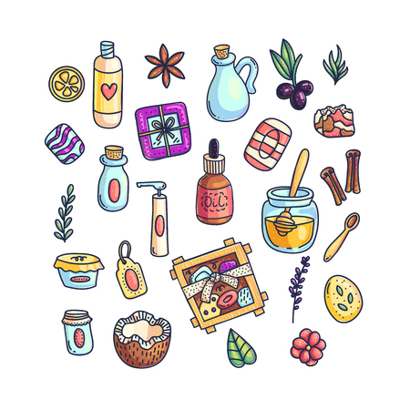 Multicolored vector set of icons with aromatic perfume and spices and cosmetics on white background
