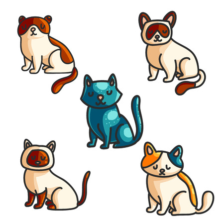 Cats color hand drawn illustrations set. Doodle pets. Cute cat breeds clipart collection. Cartoon domestic animals. Pet shop, kitten exhibition, veterinary clinic isolated vector design elements