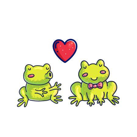 Frogs in love color cartoon vector characters. Doodle frogs couple handdrawn clipart. Cute fairy tale illustration. Hand drawn toad send air kiss. Valentine's day greeting card design element