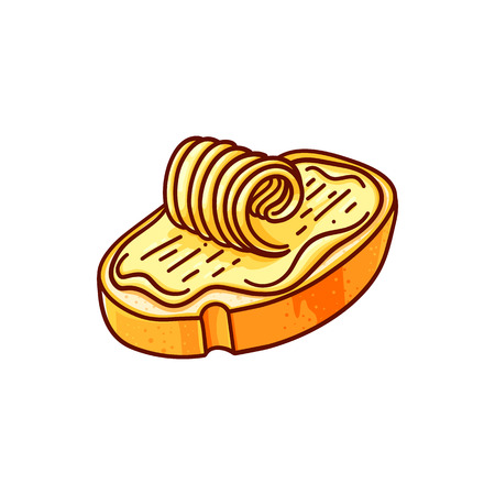 Bread and butter hand drawn vector color illustration. Doodle breakfast clipart. Lunch snack. Cartoon toast with spread. Sandwich preparation. Cafe menu isolated handdrawn design element Standard-Bild - 113563718