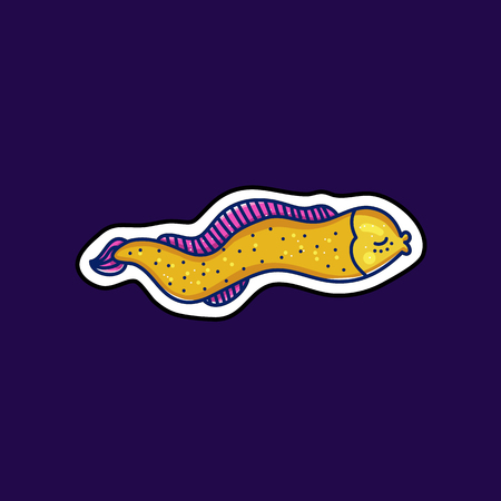 Sea underwater animal sticker illustration in cartoon doodle style with outline. Yellow sea eel