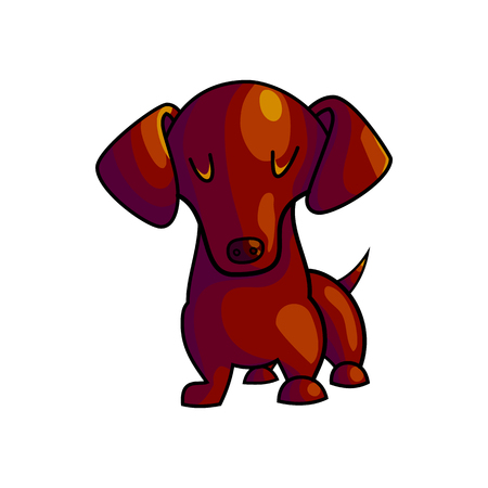 Cute cartoon dachshund character illustration isolated on white background. purebred domestic dog staying and facing