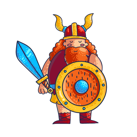 Viking vector cartoon character. Hand drawn viking with sword, shield, beard, helmet and horns. Medieval scandinavian barbarian. Video, computer game isolated flat character. Color illustration Illustration