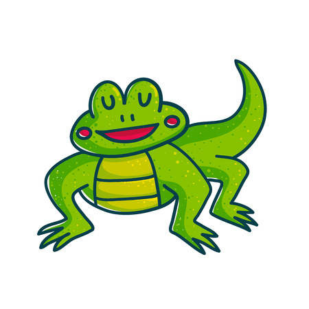 Vivid green amphibian cartoon character illustration isolated on white background.  Funny lizard