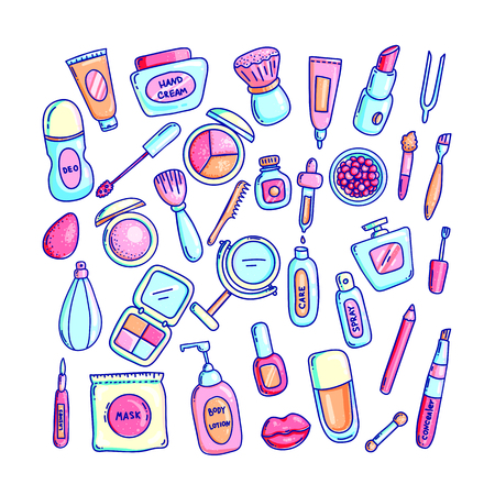Cosmetics hand drawn vector color illustrations set. Doodle makeup and beauty supply cliparts. Cartoon cream, lipstick, deodorant, perfume, mascara. Facial and body care isolated design elements