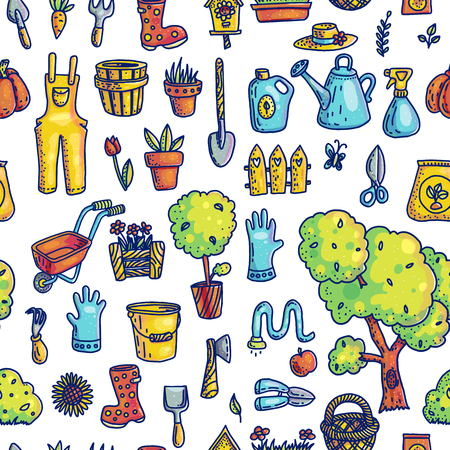 Gardening hand drawn vector seamless pattern. Planting and gardening tools cartoon texture. Weeding, harvesting, watering supply. Landscaping doodle cliparts. Horticulture color background fill