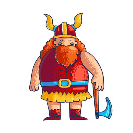 Viking vector cartoon character. Hand drawn viking with Dane axe, beard, helmet and horns. Medieval scandinavian barbarian. Video, computer game isolated flat character. Color illustration