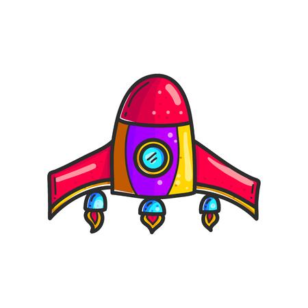 Icône de couleur dessinée à la main de fusées de dessin animé. Clipart de navette spatiale mignon. Vaisseau spatial de griffonnage. Autocollant de vaisseau spatial. Exploration de l'espace. Illustration cosmique. Élément de design vectoriel isolé
