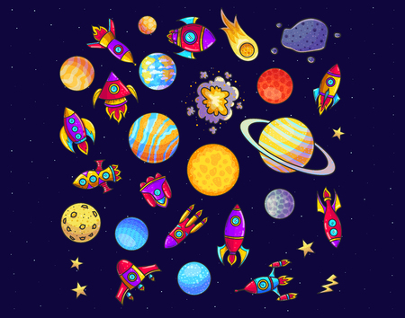 Space hand drawn cartoon vector illustrations set. Doodle asteroid, rockets, planets cliparts. Cosmic collection. Fantastic galaxy color isolated design elements