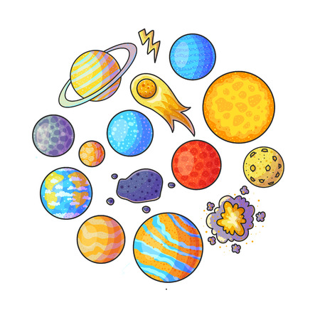 Space hand drawn color illustrations set. Doodle astronomical phenomena. Cartoon moon, comet, asteroid, lightning, explosion, planets. Circle banner. Astronomy for kid isolated vector design elements