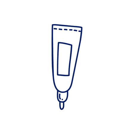 Woman cosmetics hand drawn cartoon vector illustration sticker.  Lipstick packge Vettoriali