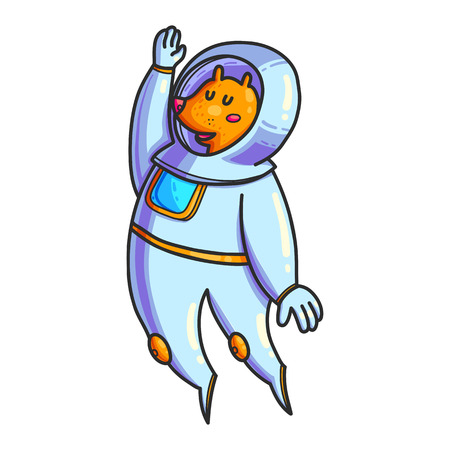 Animal astronaut hand drawn color character. Doodle pet in space. Cute cartoon cosmonaut. Cosmos exploration. Cosmic illustration of fox. Astronomy for kid isolated vector design elements