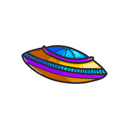 Cartoon flying saucers hand drawn color illustration. Cute UFO. Space shuttle cliparts. Doodle spaceship. Aliens. Spacecraft sticker. Cosmic patch. Isolated vector design element