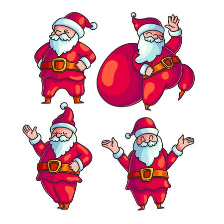 Cute Santa Claus hand drawn character set.  Doodle Santa in different poses. Xmas, New Year greeting card, poster, banner design element. Isolated holiday illustrations