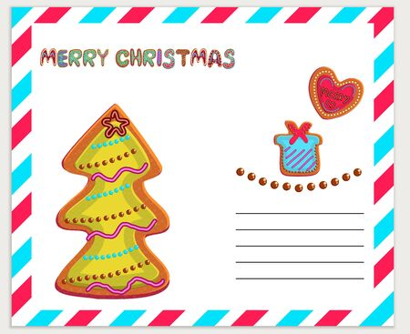 Merry Christmas greeting card color template. Gingerbread hand drawn lettering. Cute Christmas cookies illustrations collection. Holiday Xmas, New Year party poster, banner cartoon design