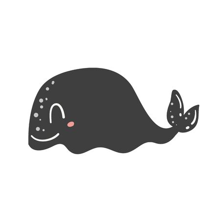 Cute little whale isolated on white background. Doodle ocean mammal in doodle style. Happy sea character illustration. Фото со стока - 130027150