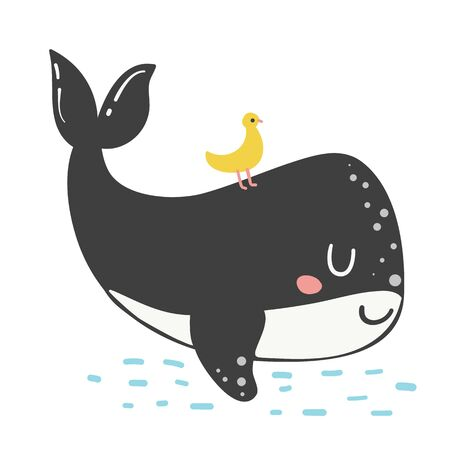 Cute little whale isolated on white background. Doodle ocean mammal in doodle style. Happy sea character illustration.