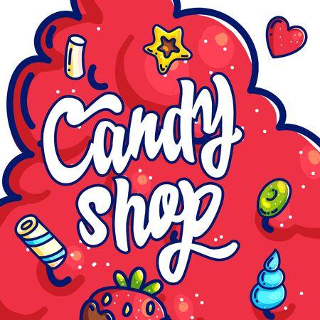 Candy shop hand drawn cartoon  illustration
