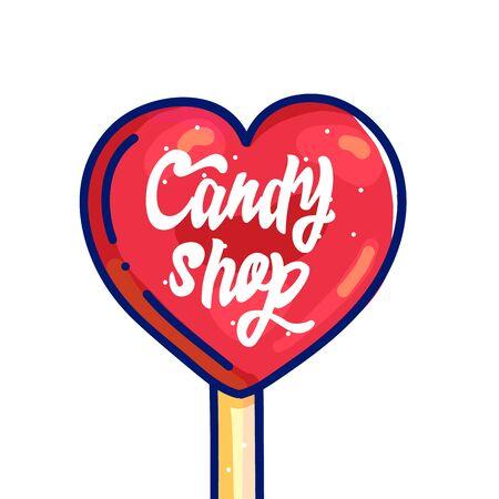 Candy shop hand drawn cartoon illustration Иллюстрация