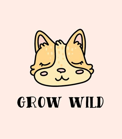 Cute baby fox hand drawn vector character Иллюстрация