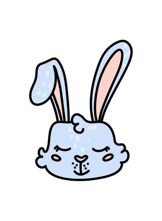 Cute baby hare hand drawn vector character icon Иллюстрация