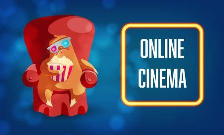 Online cinema web banner vector template