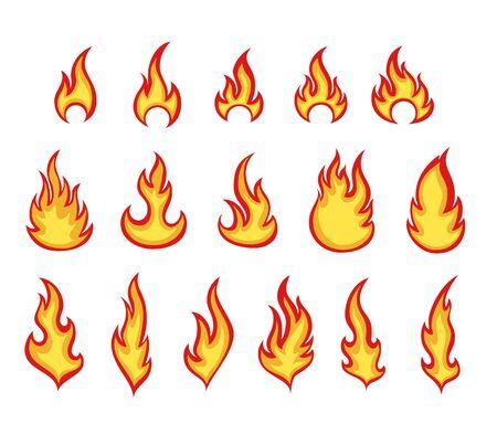 Cartoon fire flames color vector illustrations set
