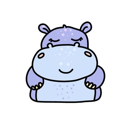 Cute hippopotamus hand drawn vector character