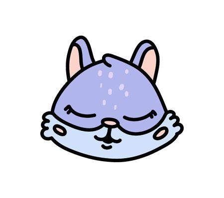Cute baby rabbit hand drawn vector character icon Иллюстрация