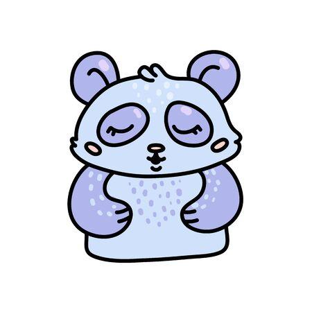 Cute baby raccoon hand drawn vector character Иллюстрация