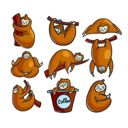 Cute sloth color hand drawn characters set. Cartoon wild animals in different poses, emotions. Kids greeting card, game, book design elements. Isolated vector mascot illustrations