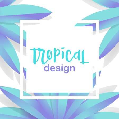 Tropical design vector frame with palm 3d leaves
