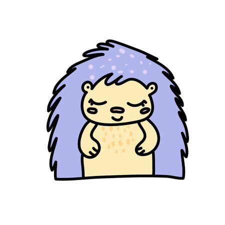 Cute baby hedgehog hand drawn vector character